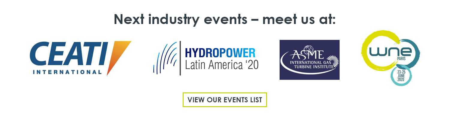 The next tradeshows and conferences in 2020 that Meggitt Vibro-Meter® Energy is attending are CEATI International Hydropower Conference (California, USA), Hydropower Latin America (Bogota, Colombia), Turbomachinery Technical Conference & Exposition (London, England) and World Nuclear Exhibition (Paris, France)