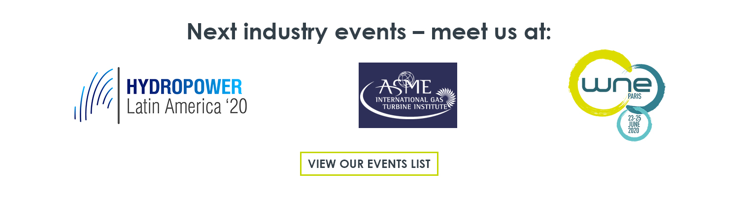 The next tradeshows and conferences in 2020 that Meggitt Vibro-Meter® Energy is attending are Hydropower Latin America (Bogota, Colombia), Turbomachinery Technical Conference & Exposition (London, England) and World Nuclear Exhibition (Paris, France)